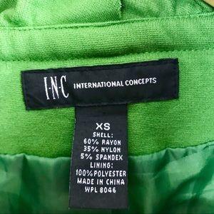 INC International Concepts Jackets & Coats - INC Green Ruffle Collar Front Zipper Jacket